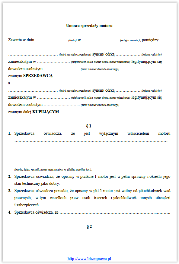 umowa kupna sprzedazy motocykla 1