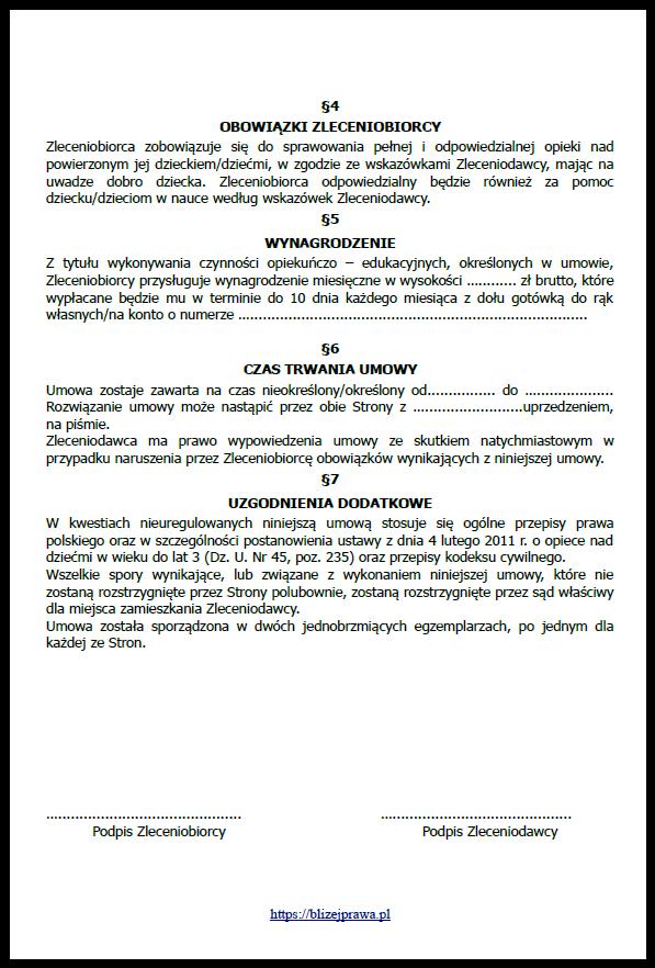 Umowa Z Nianią Czyli Umowa Nianiowa Wzór W Pdf